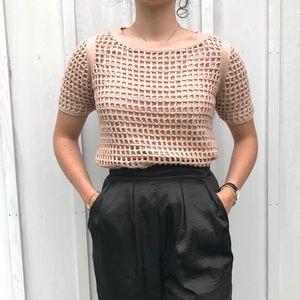 Rose Crochet Geometric Weave Short Sleeve Sweater